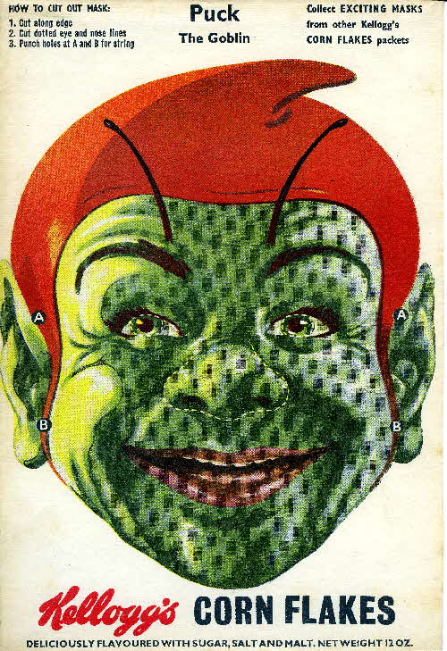 1950s Cornflakes Exciting Masks Puck the Goblin