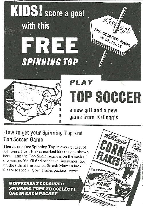1958 Cornflakes Spinning Top Soccer Game