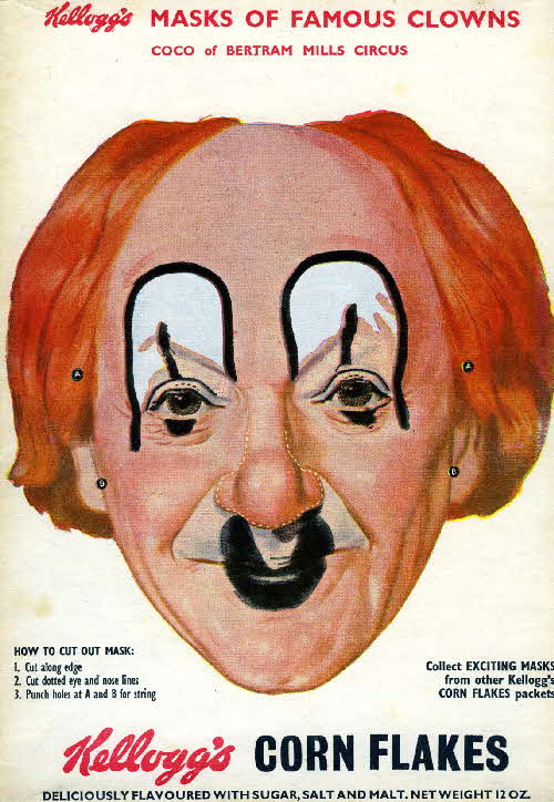1955 Cornflakes Masks of Famous Clowns Coco