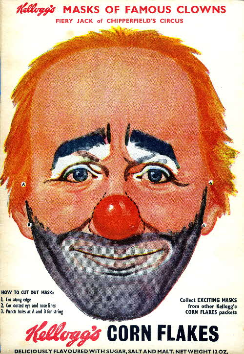 1955 Cornflakes Masks of Famous Clowns Fiery Jack