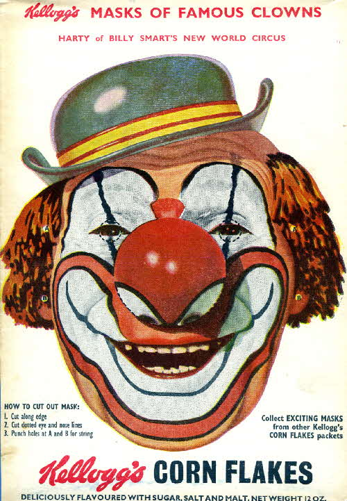 1955 Cornflakes Masks of Famous Clowns Harty