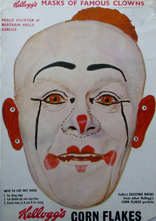 1955 Cornflakes Masks of Famous Clowns Percy Huxter