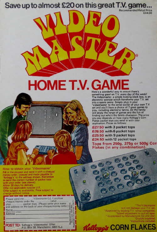 1975 Cornflakes Video Master Home TV game