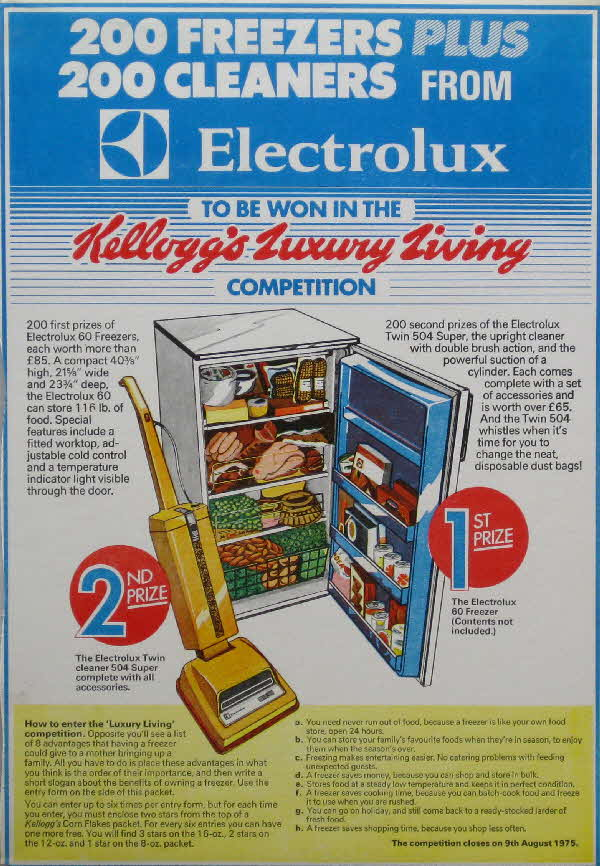 1970s Cornflakes Electrolux competition