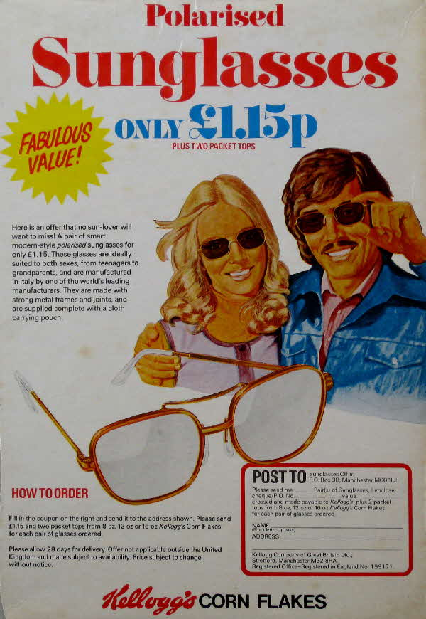 1970s Cornflakes Polarised Sunglasses offer
