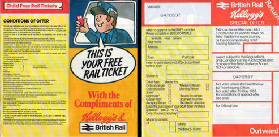 1982 Cornflakes Free Childs Train ticket (betr)