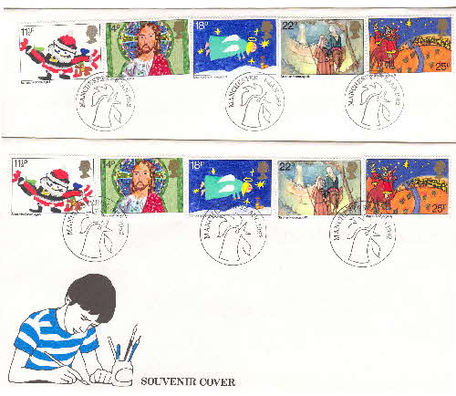 1982 Cornflakes Christmas Souvenir covers different postmark size
