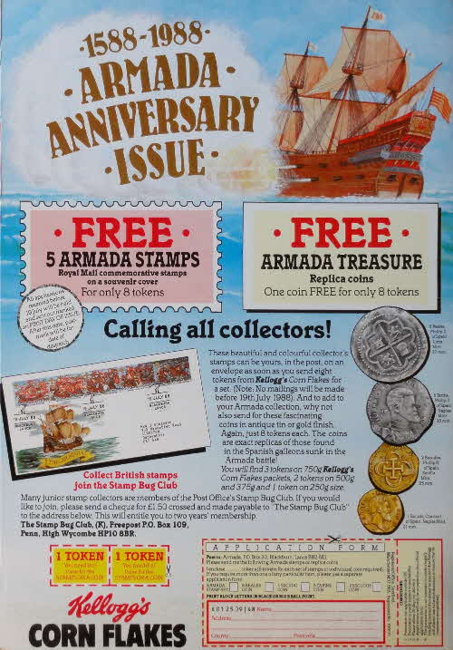 1988 Cornflakes Armada Coin & Stamps