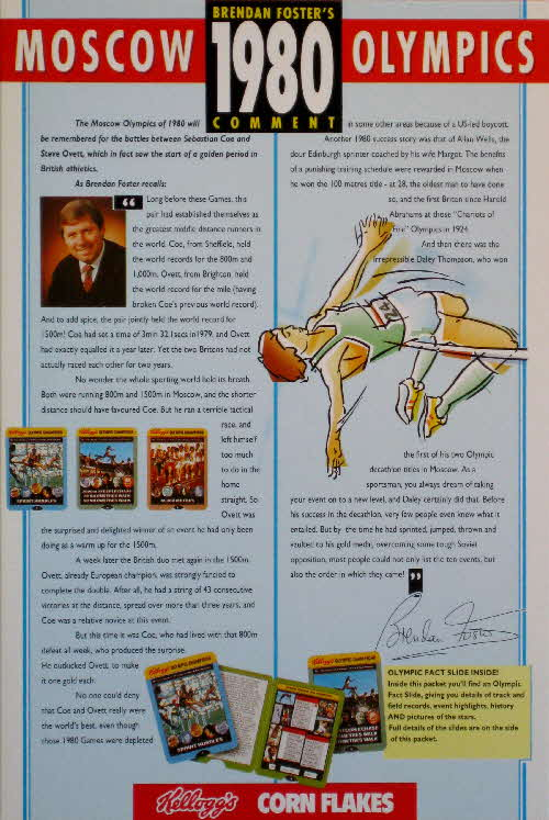 1991 Cornflakes Olympic Fact card 1980
