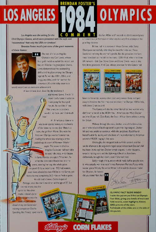 1991 Cornflakes Olympic Fact card 1984