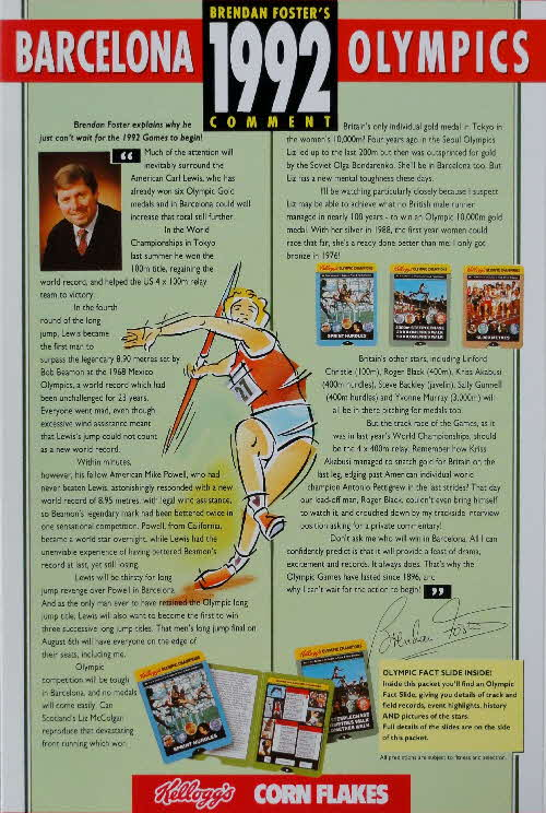 1991 Cornflakes Olympic Fact card 1992
