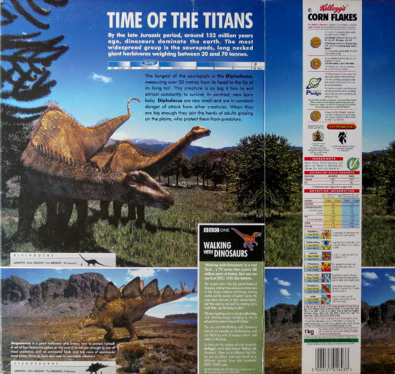 1999 Cornflakes Walking with Dinosaurs Time of the Titans