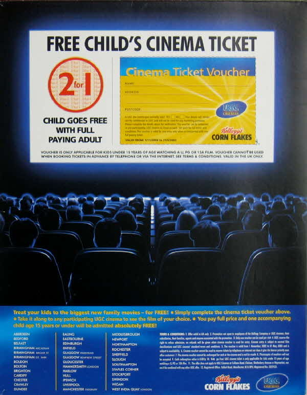 2002 Cornflakes Free Childs Cinema Tickets