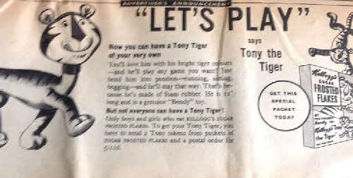 1957 Frosties Tony Tiger Rubber Figure