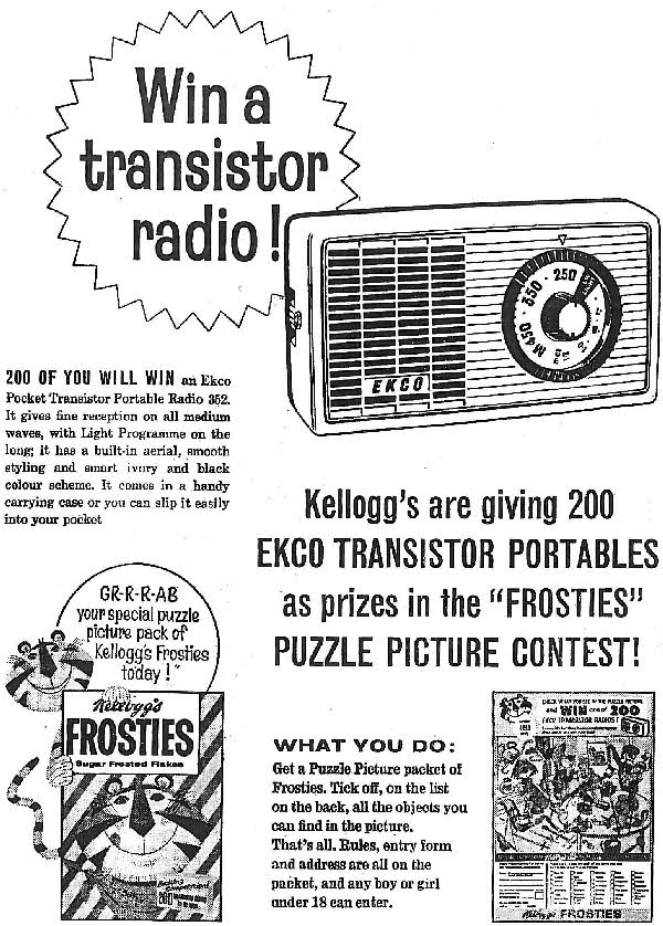 1962 Frosties Ekco Transister Radio Competition