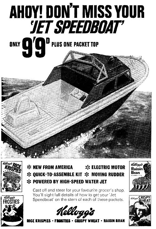 1960s Frosties jet Speedboat Offer