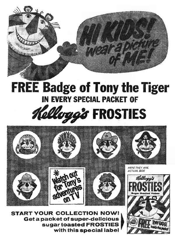 1964 Frosties Tony Tiger Badges