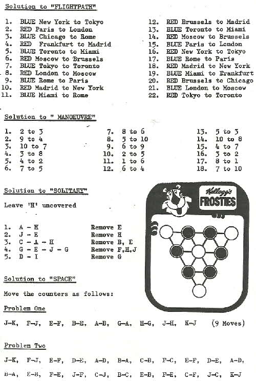 1977 Frosties Magnetic Games answers