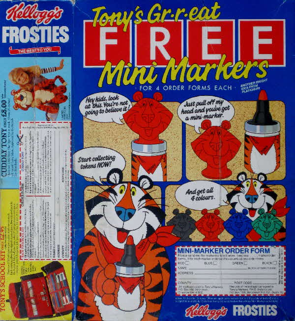 1983 Frosties Mini Markers, School Kit & Cuddly Toy