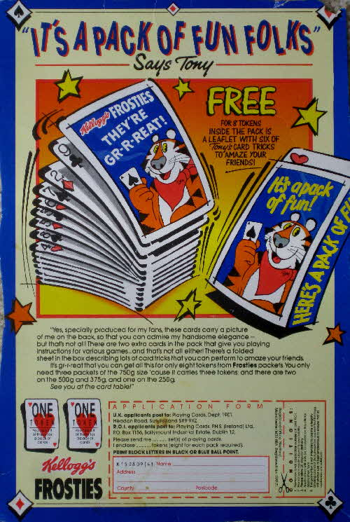 1987 Frosties Its a Pack of Fun Playing Cards1