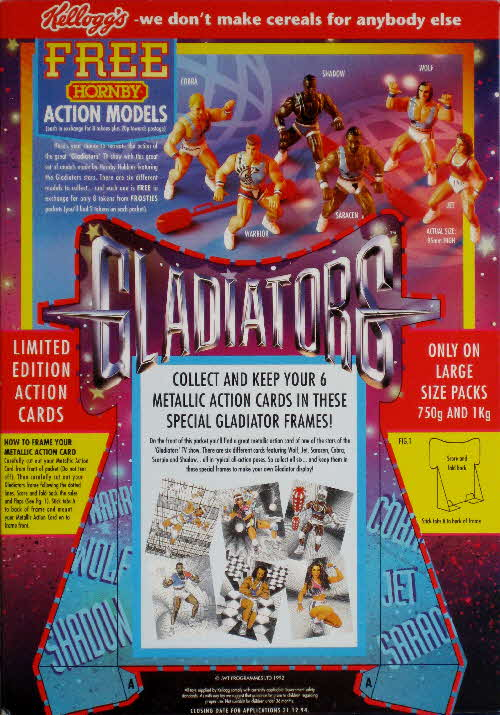 1995 Frosties Gladiators Action Card display - back