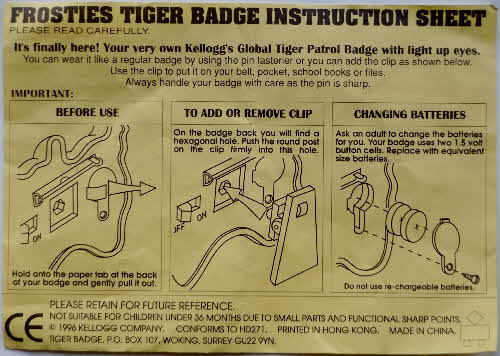 1996 Frosties Eye of the Tiger Badges  (3)