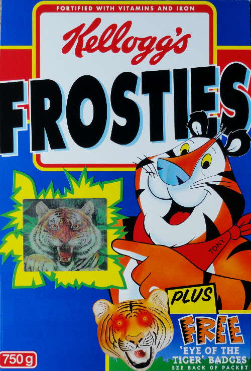 1996 Frosties Eye of the Tiger Badges & moving Amur Tiger stickers front