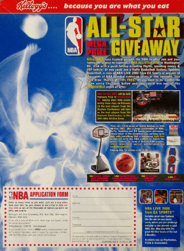 2000 Frosties NBA All Star Giveaway Competition