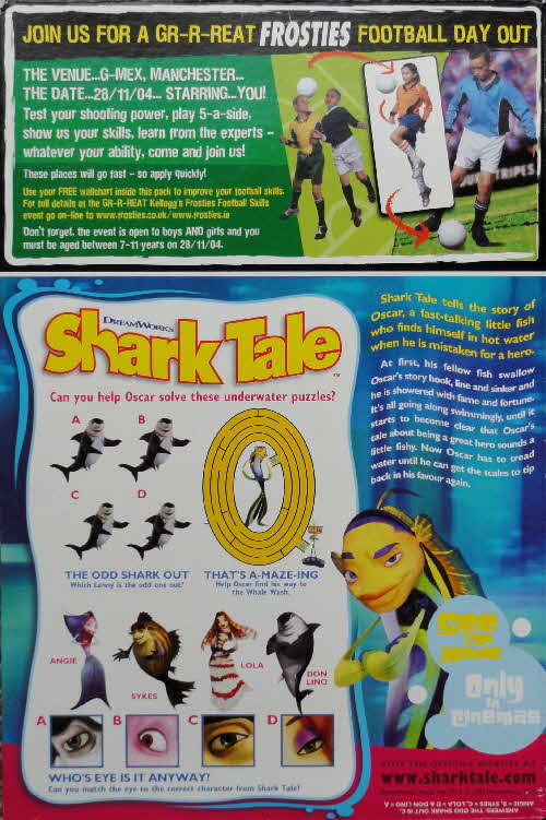 2004 Frosties Football Wallchart Challenge & Shark Tales puzzles back