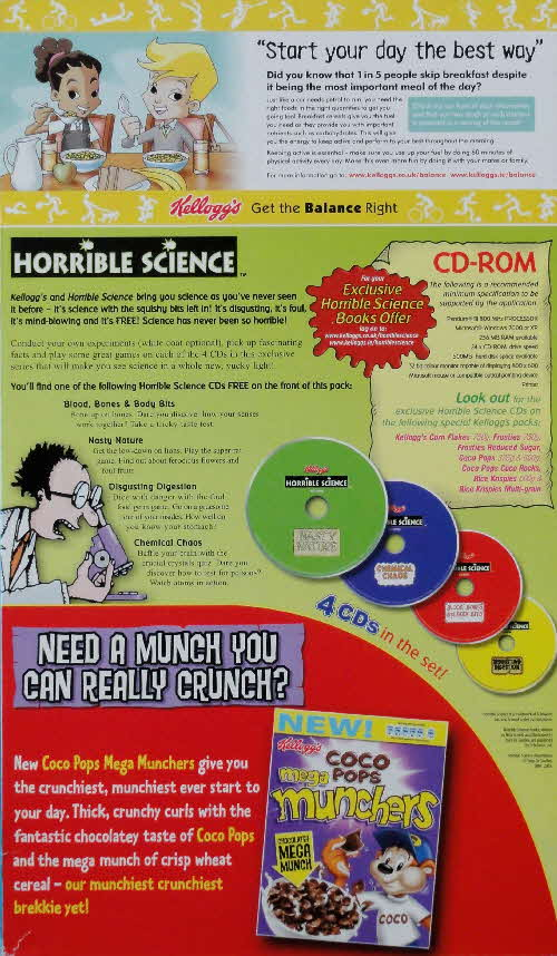 2006 Frosties Reduced Sugar Horrible Science CD Rom back