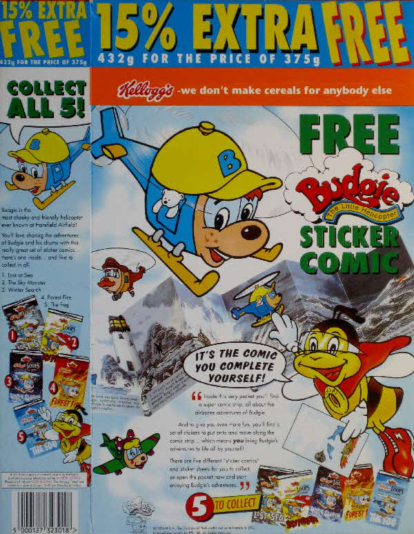 1995 Honey Nut Loops Budgie the Helicopter stickers