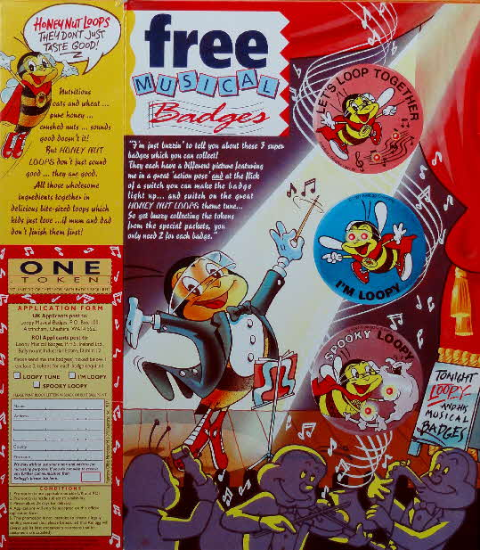 1991 Honey Nut Loops Musical Loopy badges