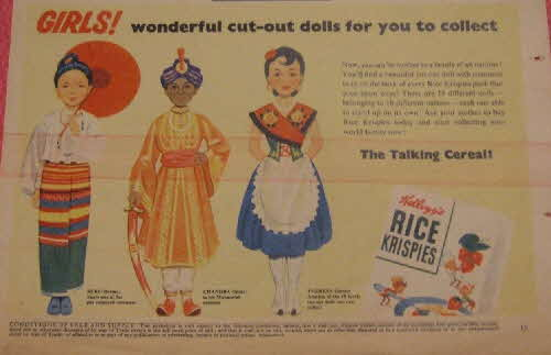 1955 Rice Krispies Cut out Dolls (betr)