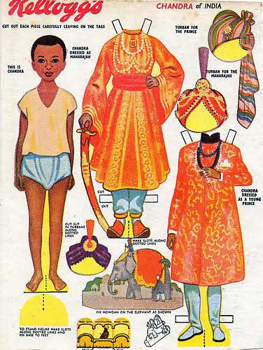 1955 Rice Krispies Cut out Dolls Chandra of India (betr)