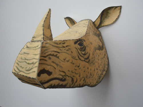 1980 Rice Krispies Wild Animal Heads 2nd series No  1 Rhino made (1)