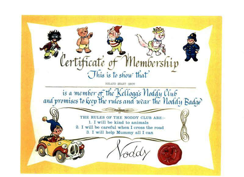 1966 Ricicles Noddy Club certificate
