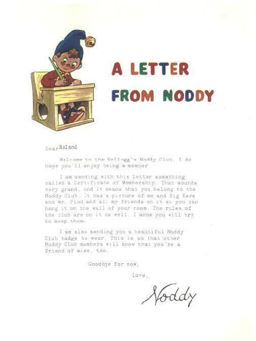 1966 Ricicles Noddy Club letter
