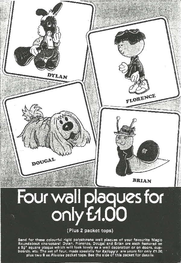 1970s Ricicles Magic Roundabout Wall Plaques (betr)