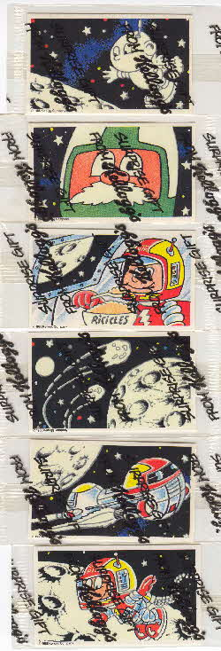 1989 Ricicles Capt Rick space stickers comic surprise gift