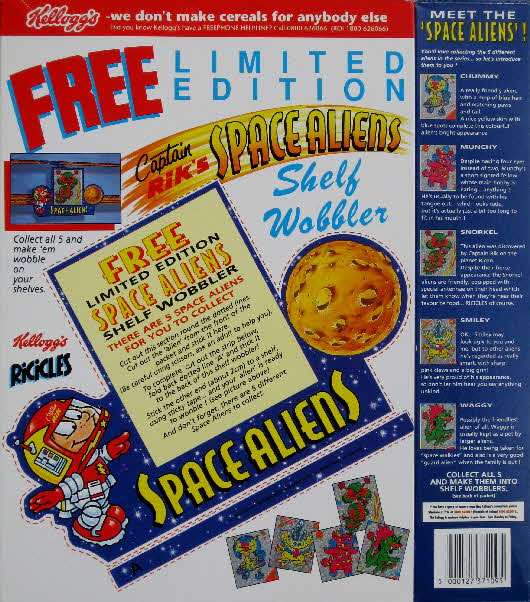 1994 Ricicles Space Alien stickers back