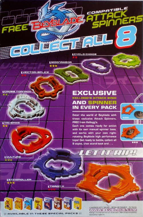 2002 Ricicles Beyblade Attack Spinners