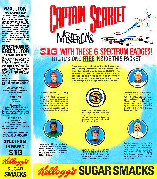 1968 Sugar Smacks Captain Scarlet Badges