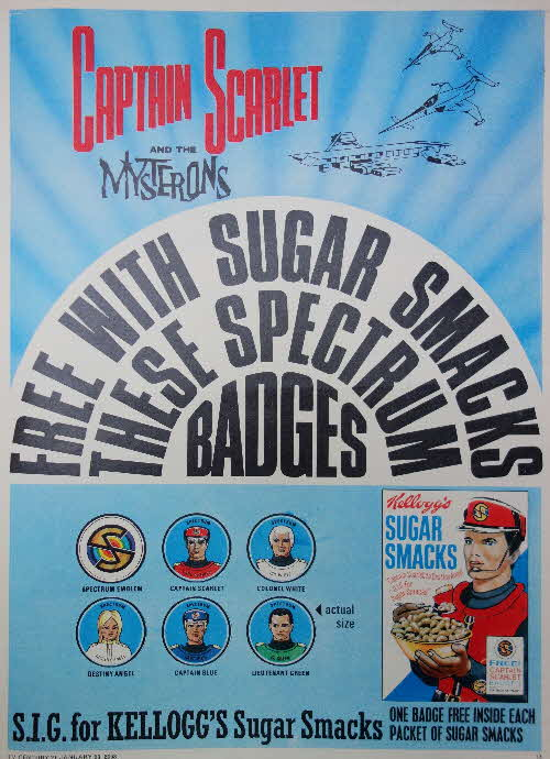 1968 Sugar Smacks Captain Scarlet Badges1
