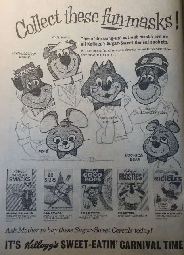 1961 Frosties Fun Masks - Hanna Barbera