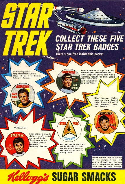 1969 Sugar Smacks Star Trek Badges, gun & Communicator offer