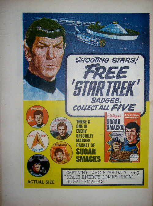 1969 Sugar Smacks Star Trek badges1