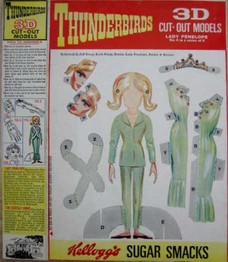 1965 Sugar Smacks Thurderbirds 3d Character Cut Outs - Lady Penelope (betr)