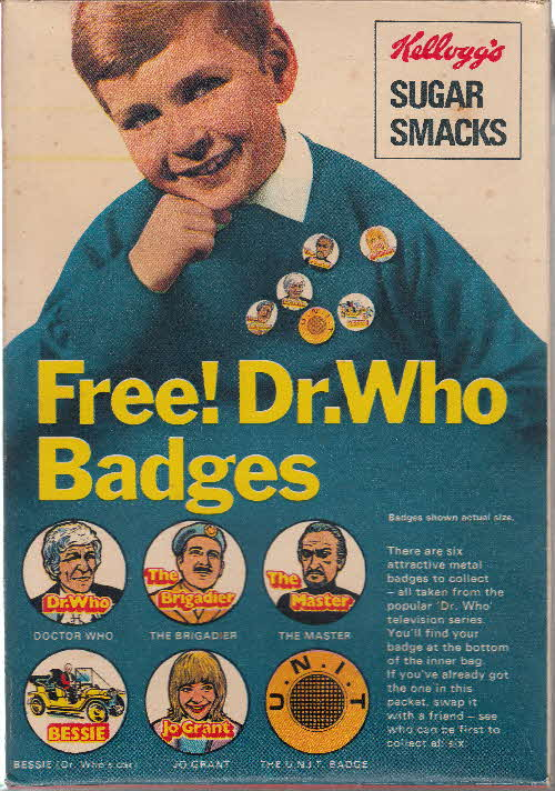 1971 Sugar Smacks Dr Who badges back