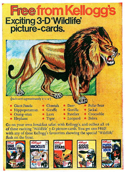 1971 Sugar Smacks 3D Wildlife Picture Cards
