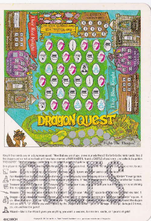1991 Quaker Harvest Scratchees Game card (3)